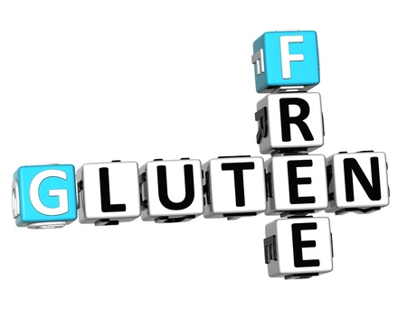 3D Gluten Free Crossword cube words on white background photo