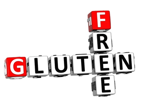 3D Gluten Free Crossword cube words on white background Stock Photo - 12570439