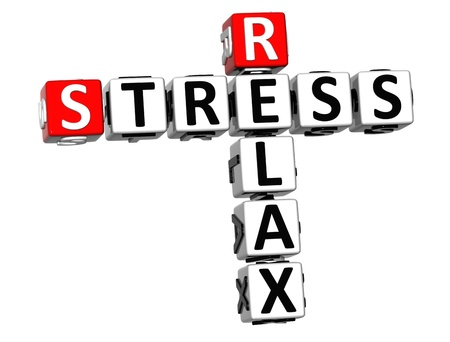 3D Stress Relax Crossword cube words on white background photo