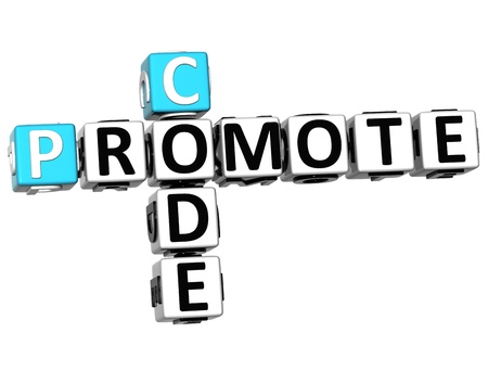 3D Promote Code Crossword cube words on white background photo