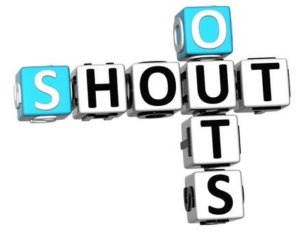 3D Shout Out palabras Crucigrama de cubo en el fondo blanco