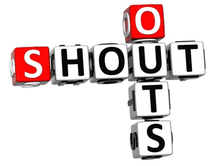 3D Shout Out Crossword cube words on white background