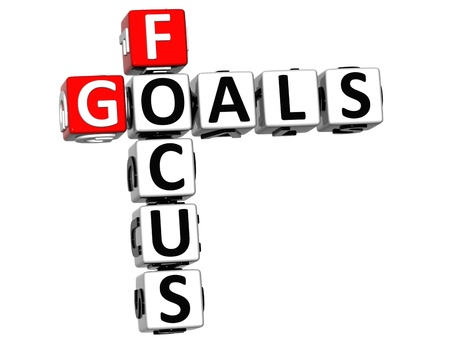3D Focus Goals Crossword cube words on white background photo
