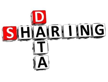 3D Sharing Data Crossword cube words on white background photo