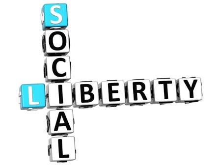 legality: 3D Social Liberty Life Crossword cube words on white background