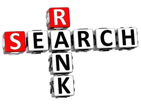rank: 3D Search Rank Crossword cube words on white background
