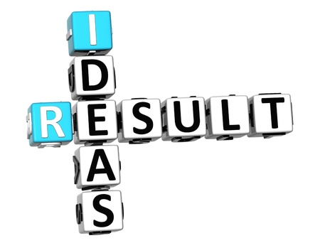 3D Result Ideas Crossword cube words on white background photo
