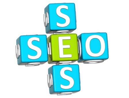 3D Seo Service Crossword on white background photo