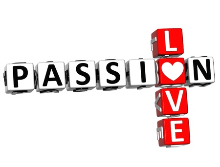 3D Passion Love Crossword text over white background  photo