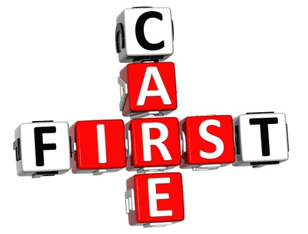 3D First Aid Care Crossword Block Button text over white background photo