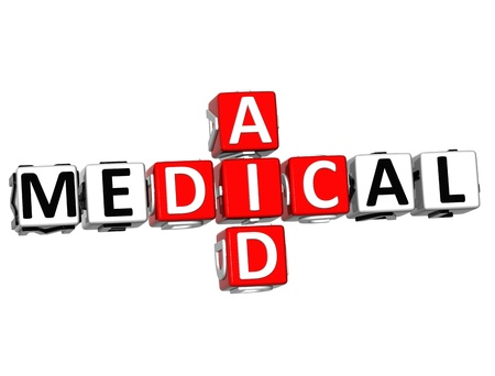 3D Medical Aid Crossword Block Button text over white background photo