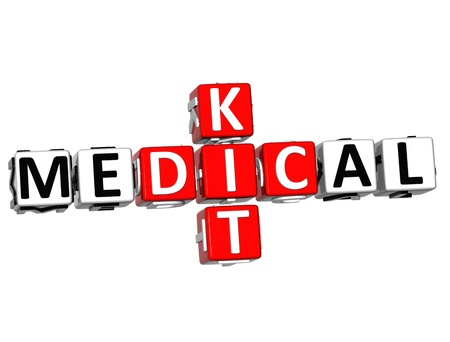 3D Medical Kid Crossword Block Button textover white background photo