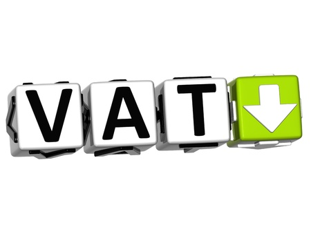 levied: 3D Vat button block cube text over white background
