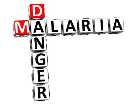 infective: Peligro 3D riesgo de paludismo Crucigrama de texto sobre fondo blanco