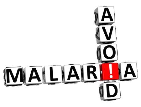 infective: Evite el texto 3D malaria Crucigrama sobre fondo blanco Foto de archivo