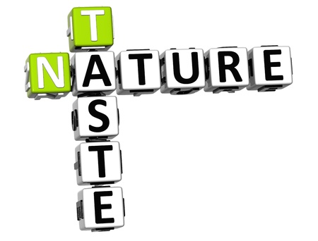 3D Taste Nature Crossword text over white background photo