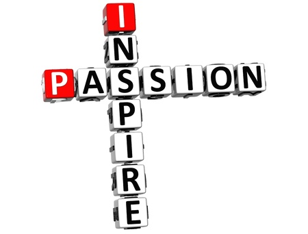 ingenuity: 3D Inspire Passion Crossword text on white backgound  Stock Photo