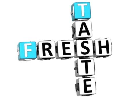 3D Fresh Taste Crossword text on white background photo