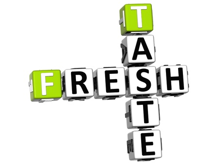 3D Fresh Taste Crossword text on white background Stock Photo - 12570613