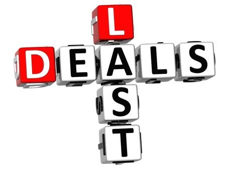3D Last Deals Crossword on white background Stock Photo - 12573203