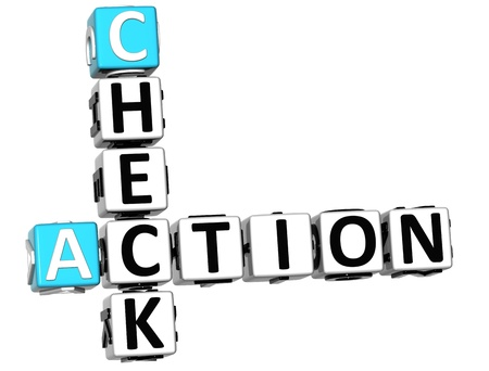 3D Check Action Good Crossword on white background photo
