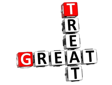 3D Great Treat Crossword on white background  photo