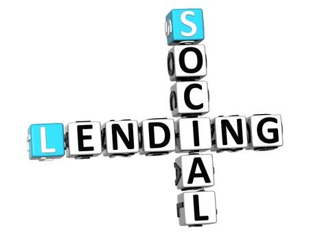 lending: 3D Social Lending Crossword text on white background Stock Photo