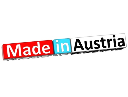3D Made in Austria over white background  photo