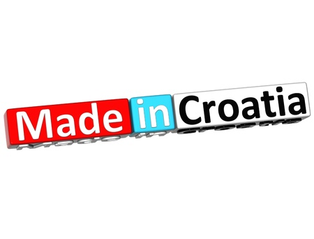 3D Made in Croatia over white background  photo