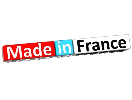 3D Made in France over white background  photo