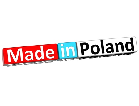 3D Made in Poland over white background  photo