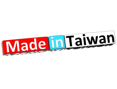 3D Made in Taiwan over white background  photo