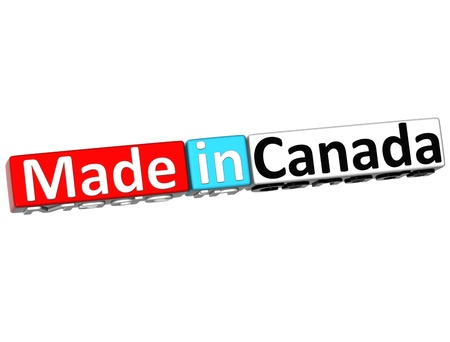 3D Made in Canada over white background  photo