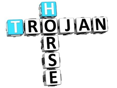 cavallo di troia: 3D virus di tipo Trojan Horse Crossword su sfondo bianco Archivio Fotografico