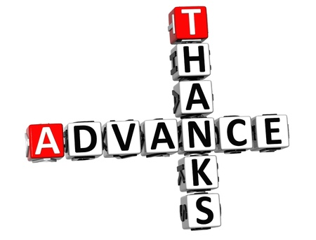 regards: 3D Advance Thanks Crossword on white background