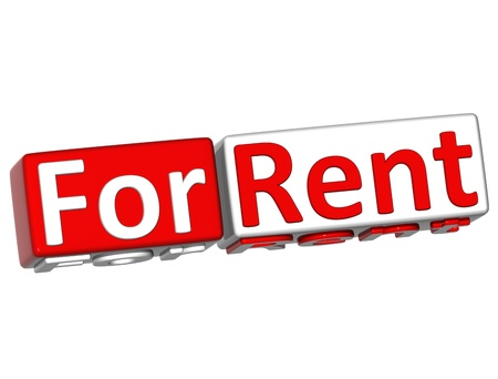 3D Block Button For Rent text over white background Stock Photo
