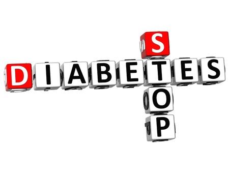 oorzaken: 3D Diabetes Stop Crossword op een witte achtergrond Stockfoto