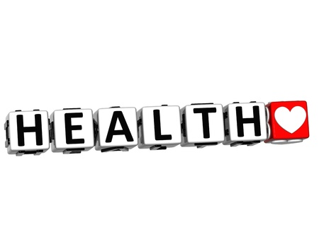 3D Health Block Button text over white background photo