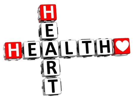 3D Health Heart Crossword Block Button text over white background photo