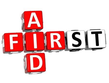 botiquin de primeros auxilios: 3D Crucigrama Primeros Auxilios botón Bloquear el texto sobre fondo blanco