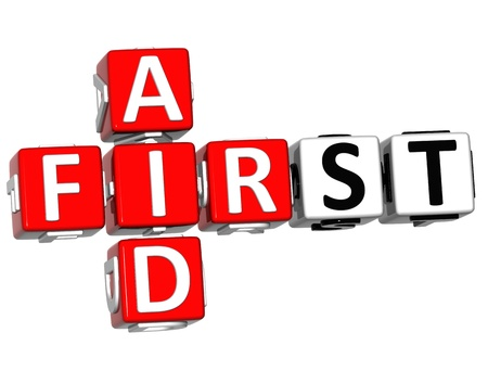 3D First Aid Crossword Block Button text over white background photo