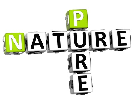 3D Pure Nature Crossword text over white background Stock Photo - 12839514