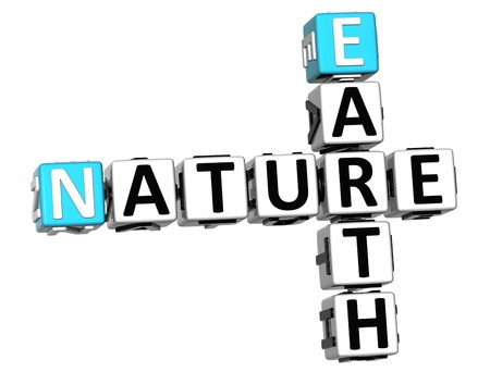 3D Earth Nature Crossword text over white background photo