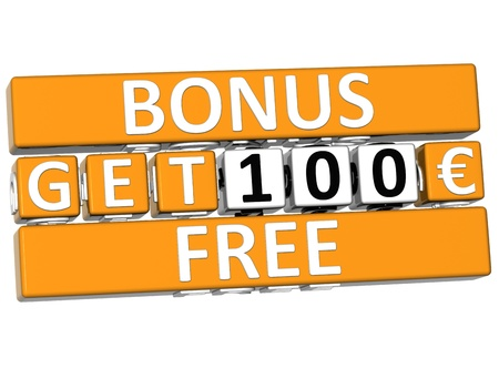 3D Get Free Bonus Cube text  on white background photo