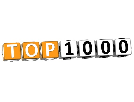 3D Ranking Top 1000 Cube text on white background photo
