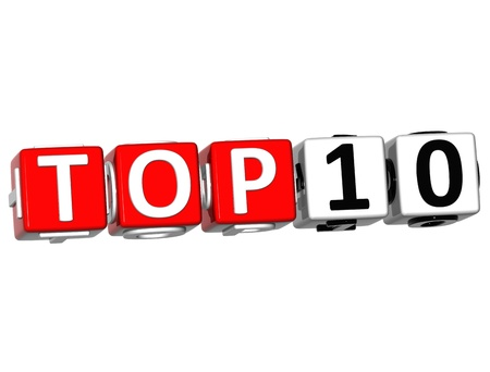 top ten: 3D Ranking Top 10 Cube text on white background Stock Photo
