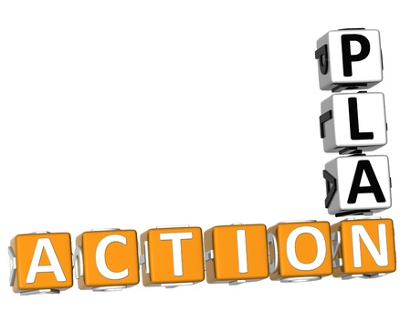 plan de accion: Acción 3D Crucigrama del Plan en el fondo blanco Foto de archivo