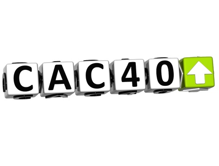 3D CAC40 Stock Market Block text on white background Stock Photo - 12964586