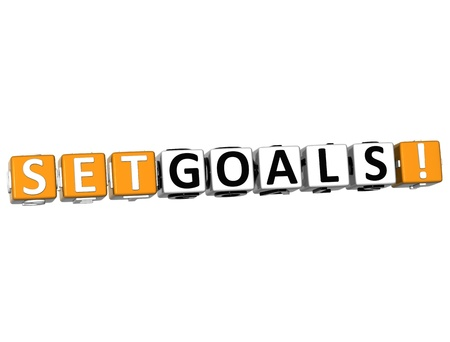 3D Set Goals Cube text on white background photo