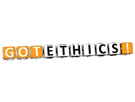 morals: 3D Got Ethics Cube text on white background